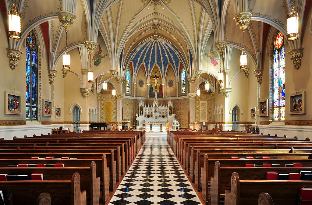 The interior of a large, modern church
