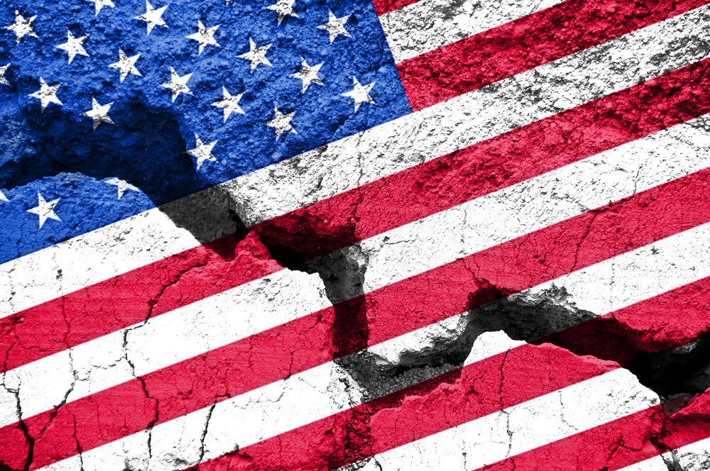 american flag on cracked background