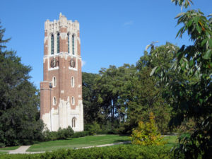 A bell tower on the lush grounds of Michigan State University in East Lansing