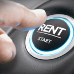 Man pushing a start button with the word rent.