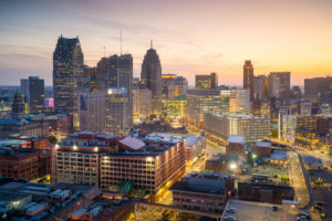 A sunset view of downtown Detroit, Michigan