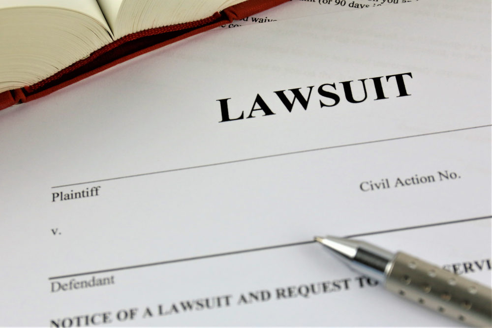 "Close-up of a form labeled ""LAWSUIT"""