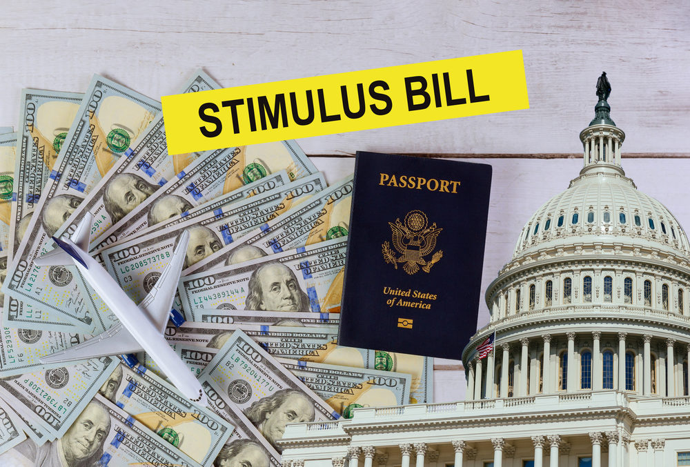 Stimulus Bill: cash, passport, and the capitol building