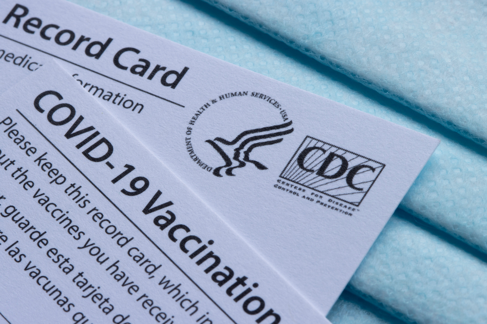 Closeup of Covid-19 Vaccination record cards