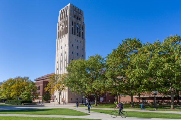 Burton Memorial Tower on the campus of the University of Michigan.